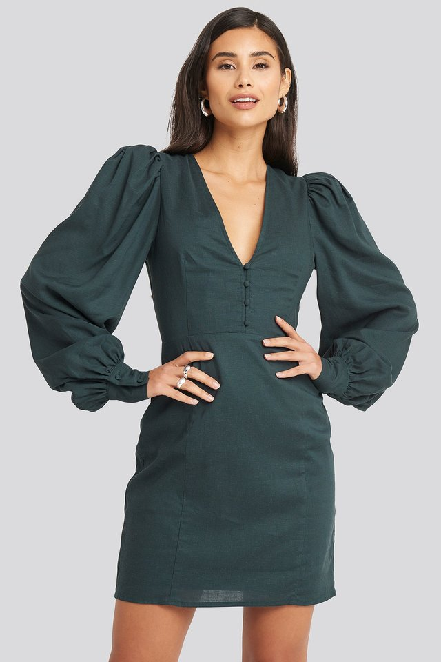 V-Neck Puff Sleeve Dress Dark teal