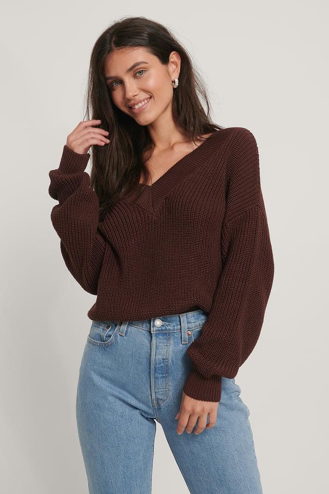 Dark Brown Organic V-neck Rib Knitted Sweater