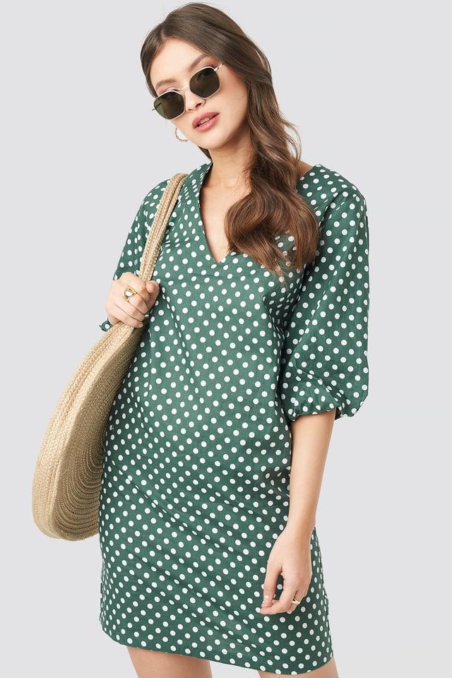 V-Neck Short Puff Sleeves Dress Dot Print