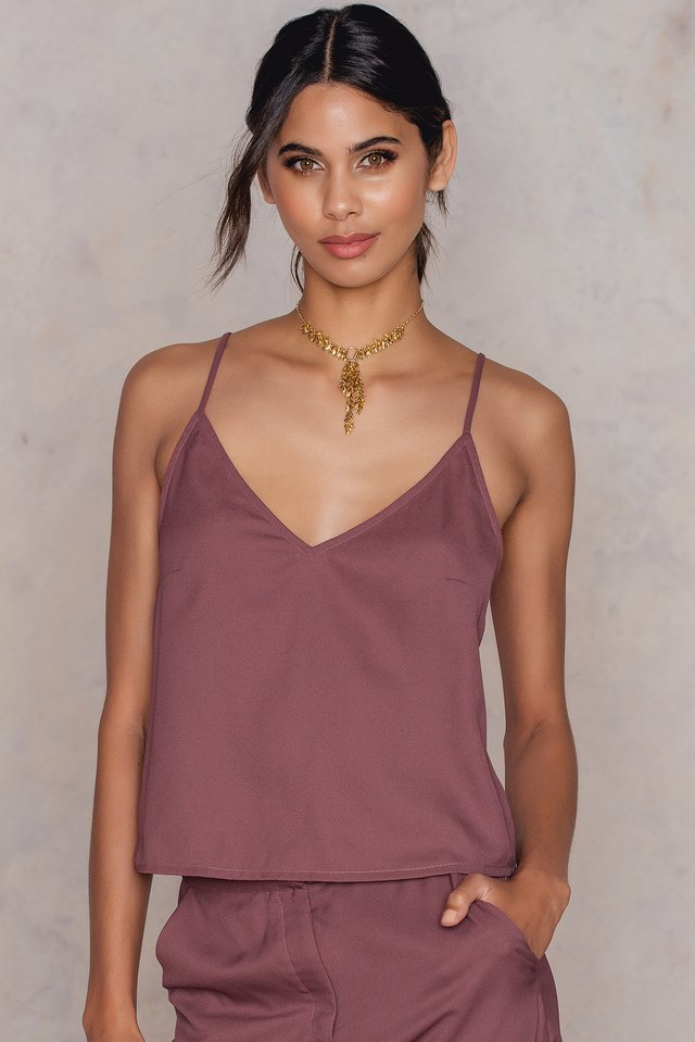 V-Neck Singlet Purple Rose