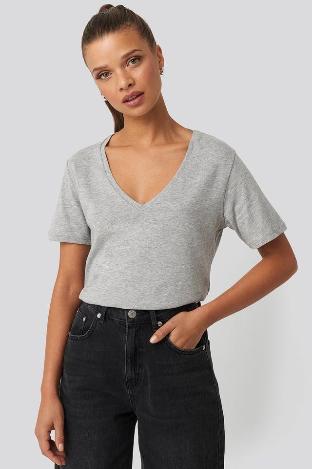 T-shirt z dekoltem V Grey Melange