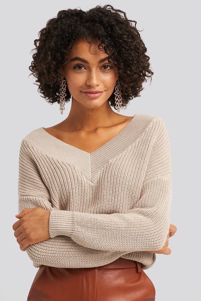 V-Neck Wide Rib Knitted Sweater Light Beige