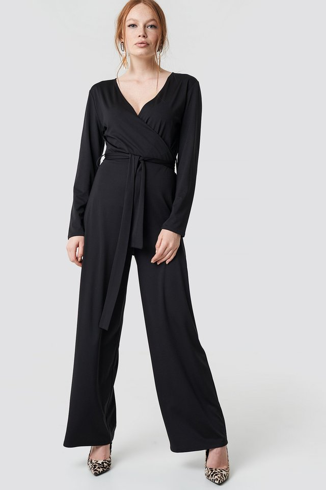 V-neck Wrap Jumpsuit Black