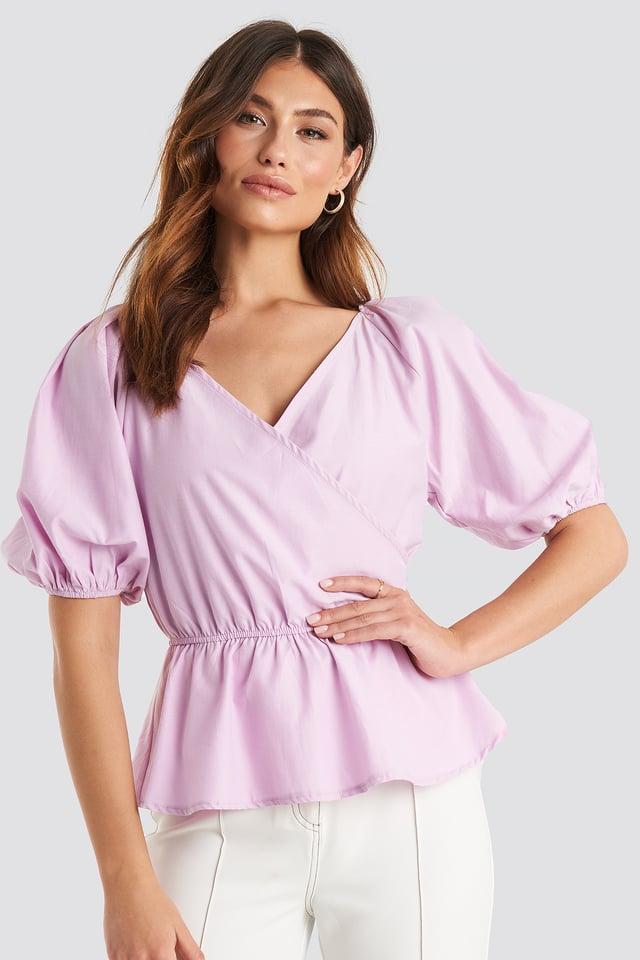 V Neck Wrap Over Elastic Waist Blouse Dusty Dark Pink