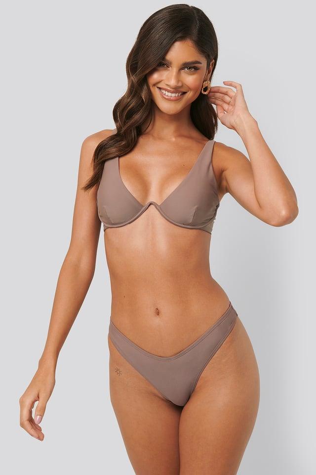 V Shape Front Bikini Bottom Taupe