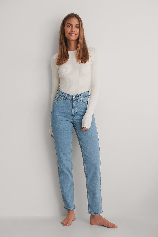 Light Blue V-shaped Waist Straight Denim