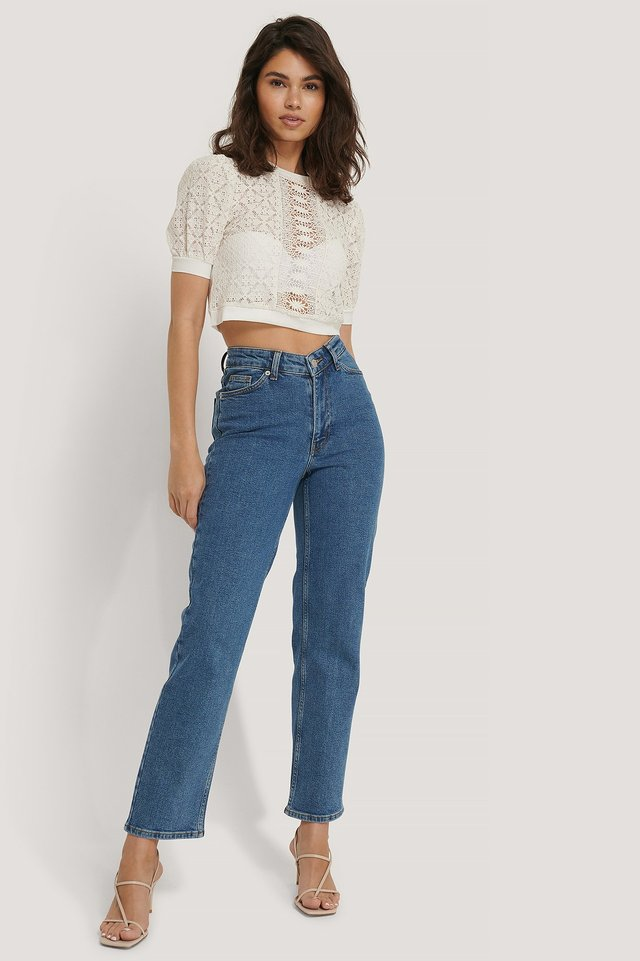 V-shaped Waist Straight Denim Mid Blue