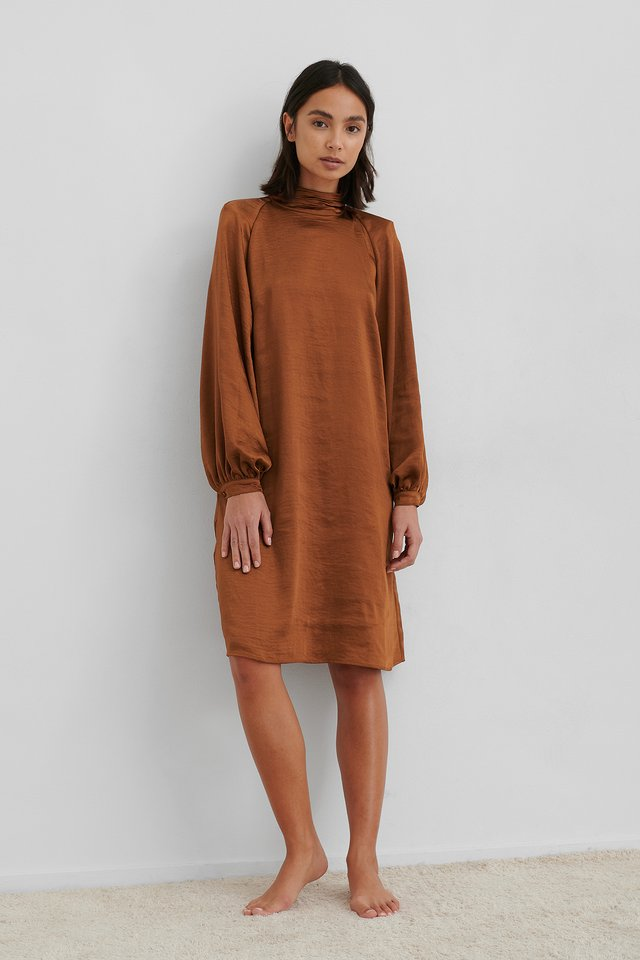 Rust Volume Sleeve Satin Dress