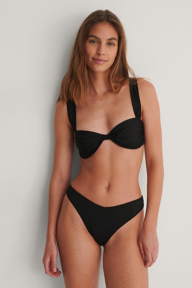 Black V-Cut Drape Bikini Bottom