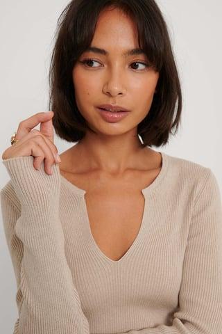 Beige V Detail Light Rib Knitted Sweater