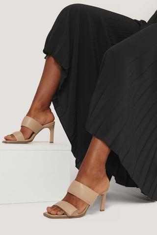 Beige Velcro Strap Square Toe Mules