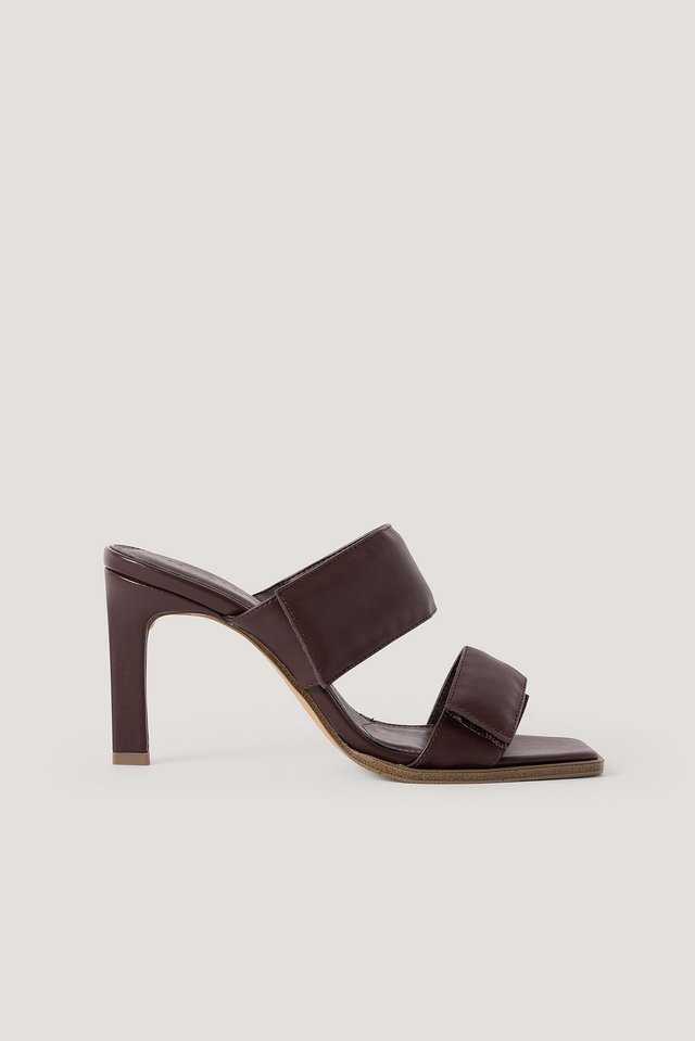 Velcro Strap Square Toe Mules Brown