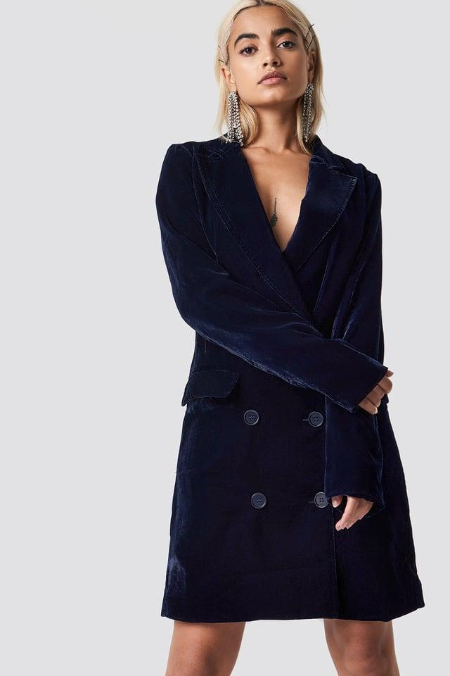 Velvet Blazer Dress Midnight Blue