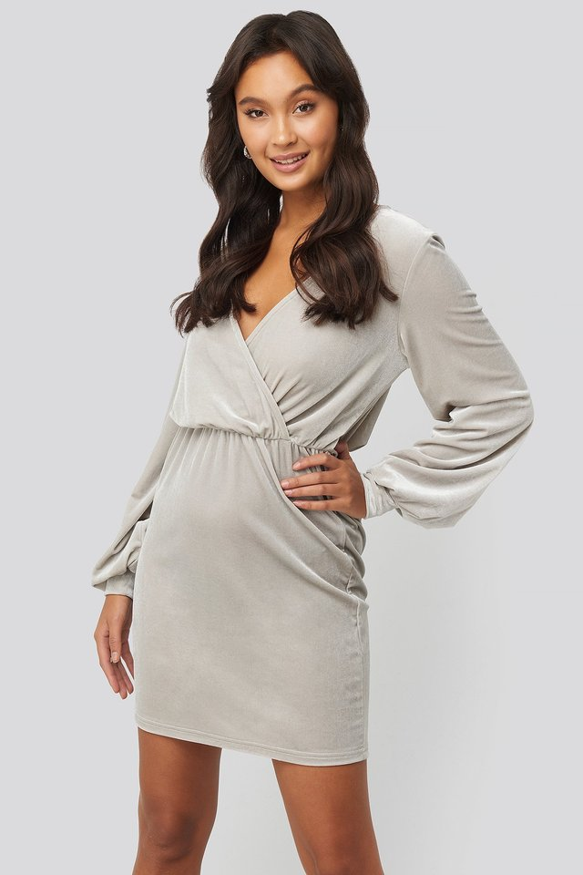 Velvet Overlap Mini Dress Silver