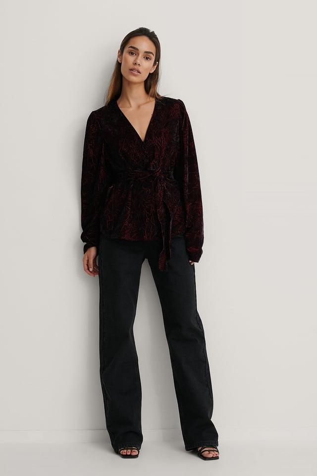 Burgundy Velvet Puff Sleeve Kimono