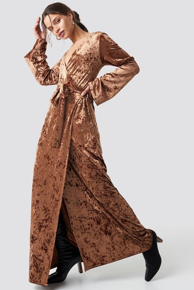Velvet Tie Waist Overlap  Dress Brown