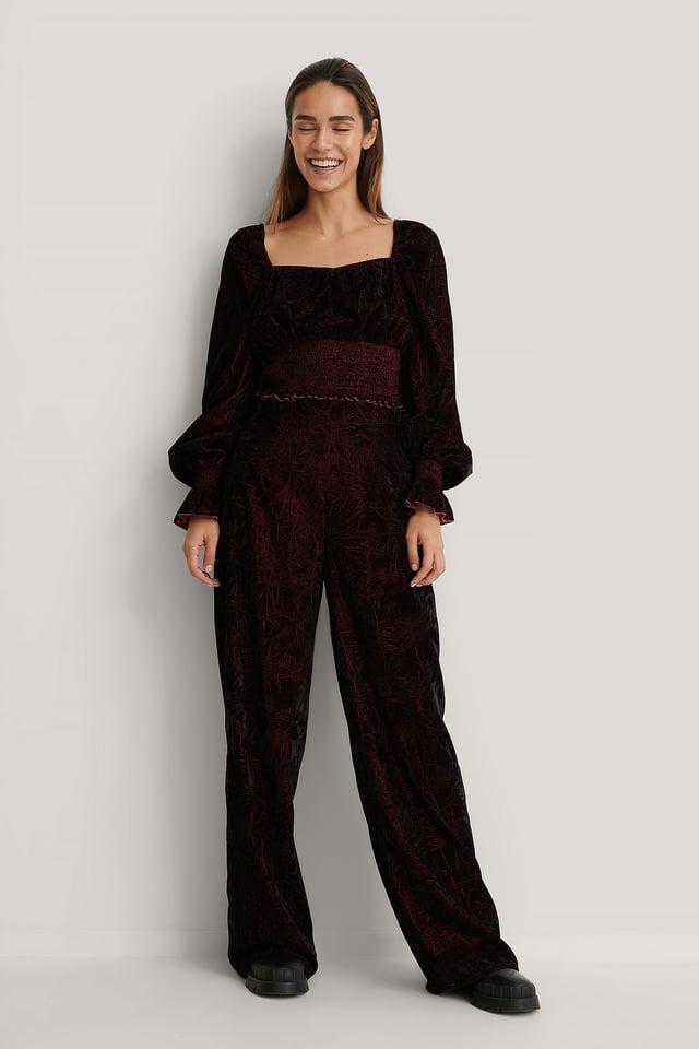 Burgundy Velvet Wide Pants