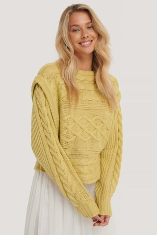 Dusty Light Yellow Weste Strickpullover
