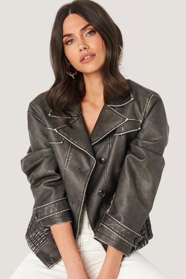 Vintage Biker PU Jacket Black