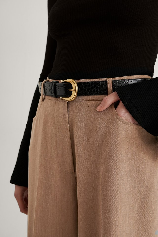 Black Vintage Look Croc Belt