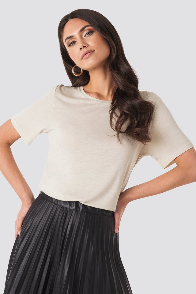 Viscose Basic Tee Dusty Light Beige