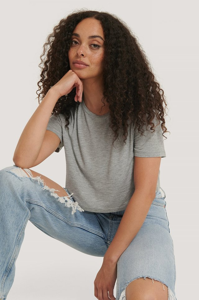 Viscose Cropped Tee Light Grey Melange