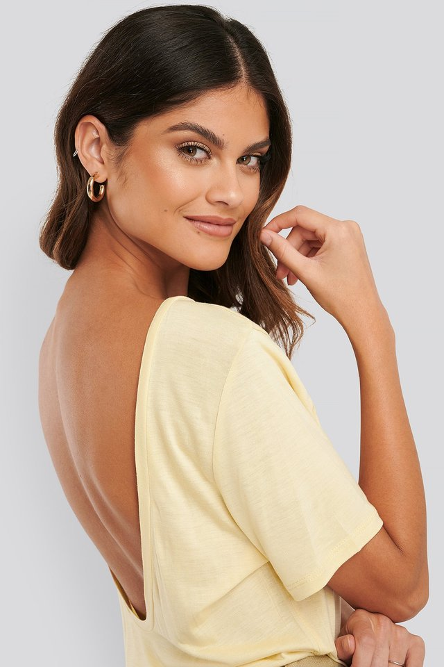Viscose Deep Back Tee Light Yellow