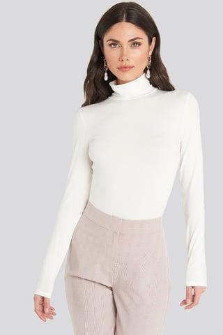 White Viscose Long Sleeve Polo Top