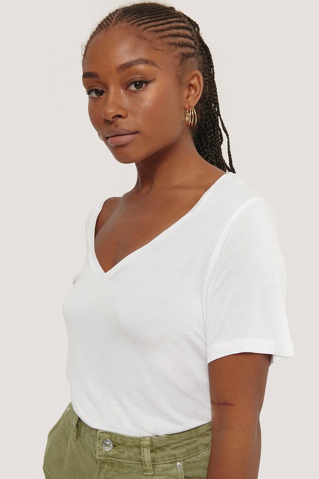 Viscose V-Neck Tee White