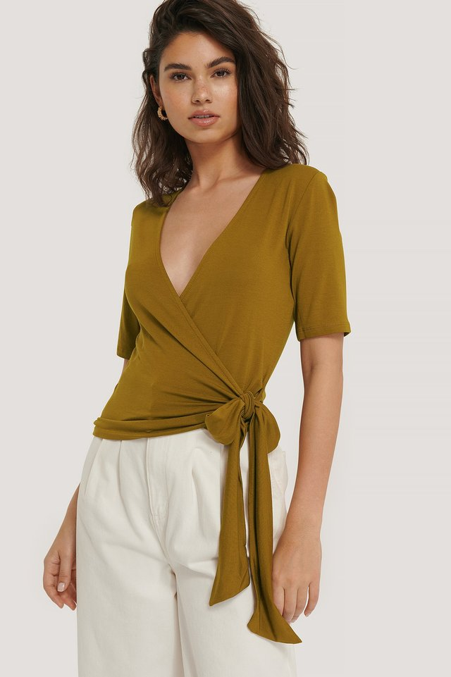 Viscose Wrap Tie Top Khaki