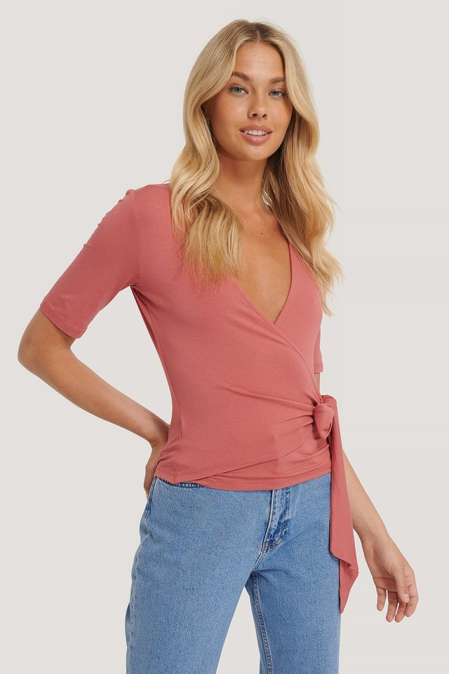 Viscose Wrap Tie Top Dusty Rose