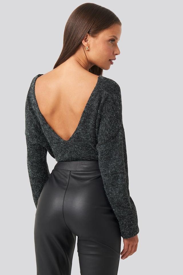V-neck Back Cropped Knitted Sweater Dark Grey