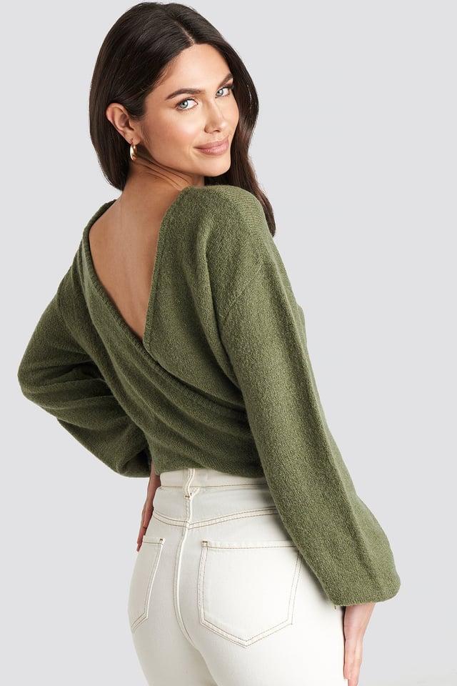 V-Neck Back Overlap Knitted Sweater Khaki