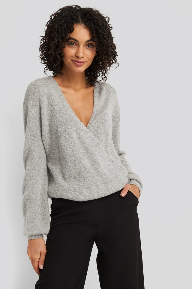 V-Neck Overlap Knitted Sweater Grey