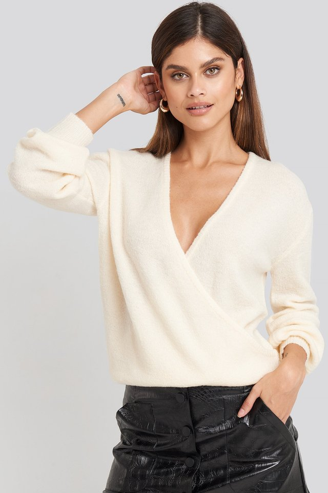 V-Neck Overlap Knitted Sweater Offwhite