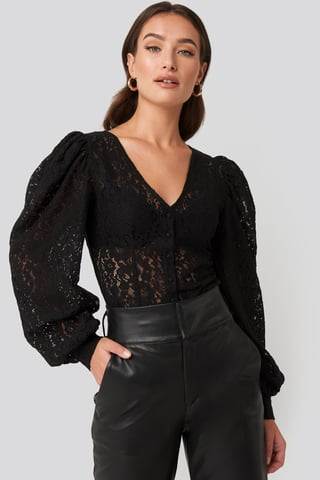 Black Volume Puffy Sleeve Lace Blouse