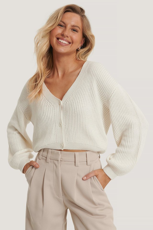 White Volume Sleeve Buttoned Cardigan