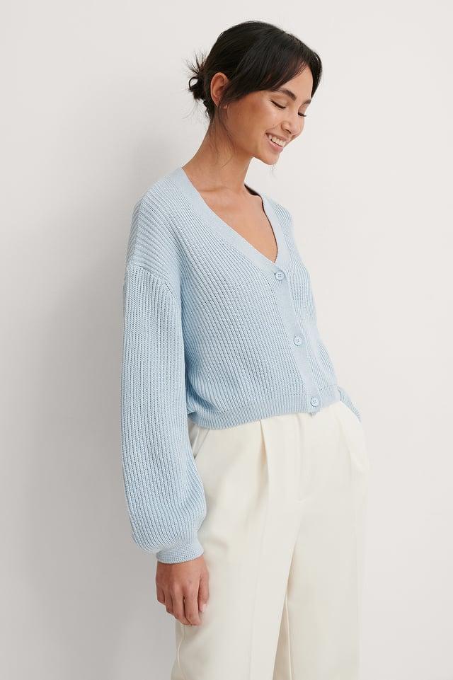 Light Blue Volume Sleeve Buttoned Cardigan