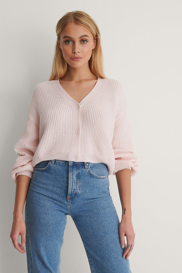 Light Pink Volume Sleeve Buttoned Cardigan