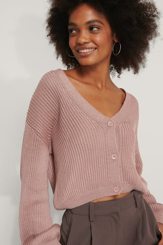 Dusty Pink Volume Sleeve Buttoned Cardigan