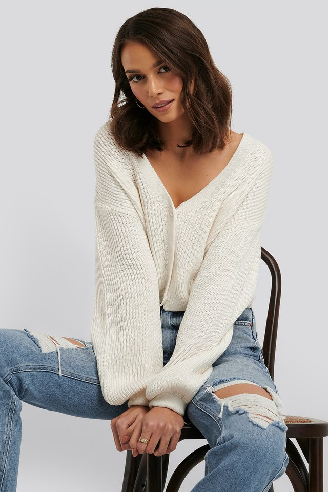 Volume Sleeve Cardigan White