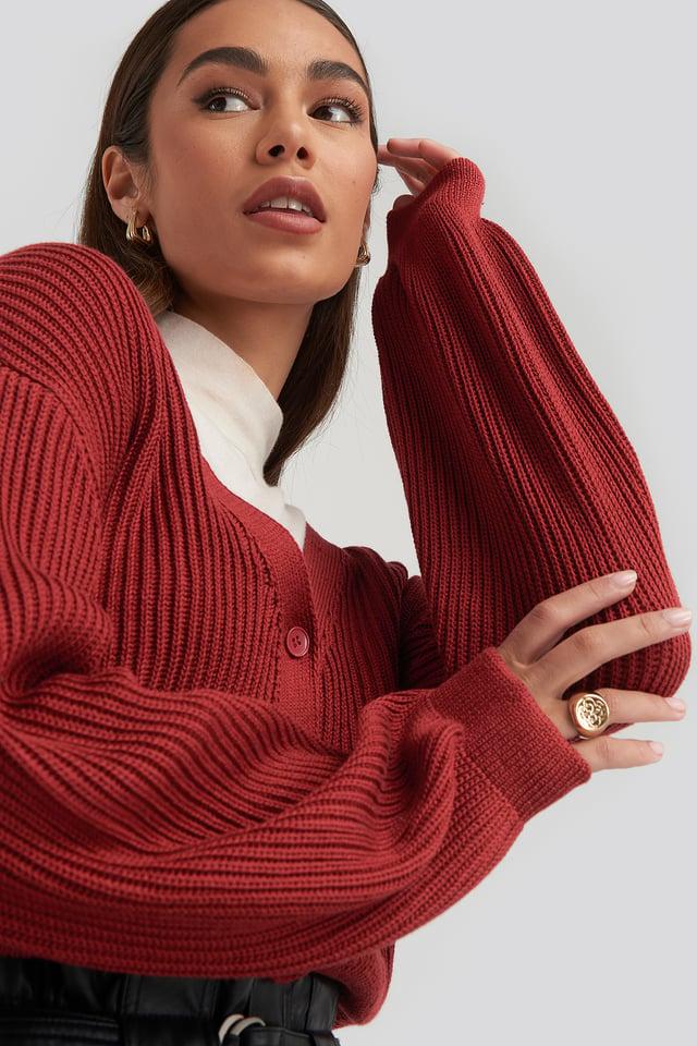Volume Sleeve Cardigan Red