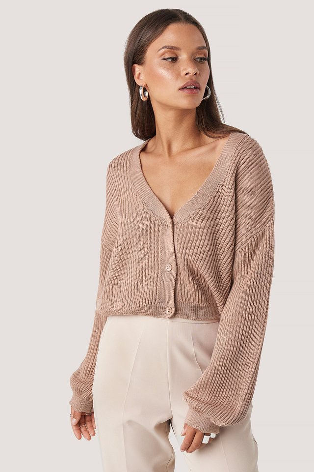 Dusty Light Pink Volume Sleeve Cardigan