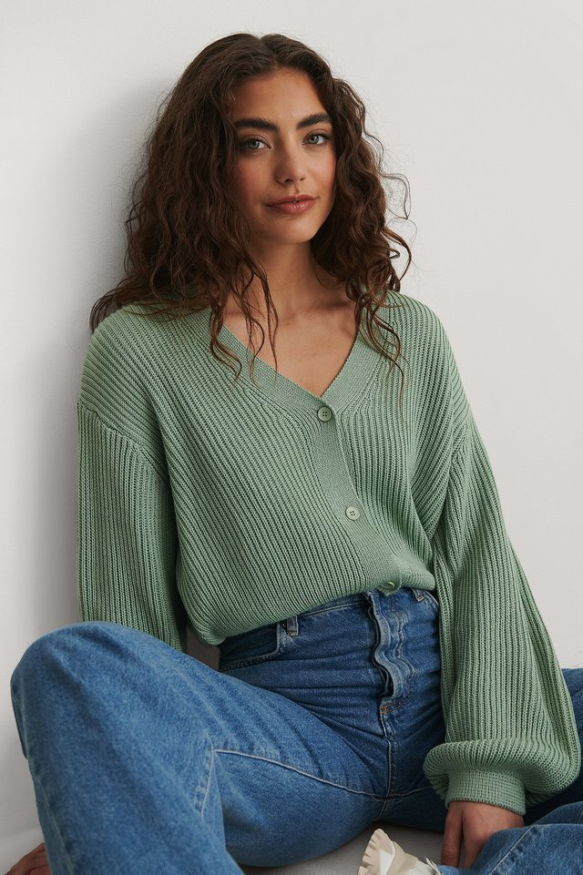 Light Green Volume Sleeve Buttoned Cardigan