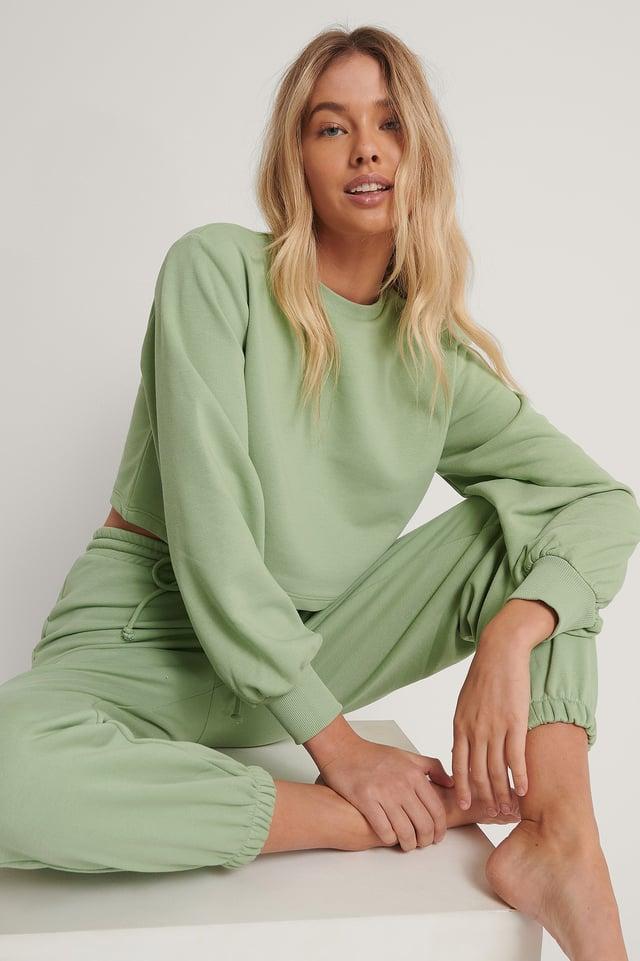 Green Organic Volume Sleeve Cropped Sweatshirt