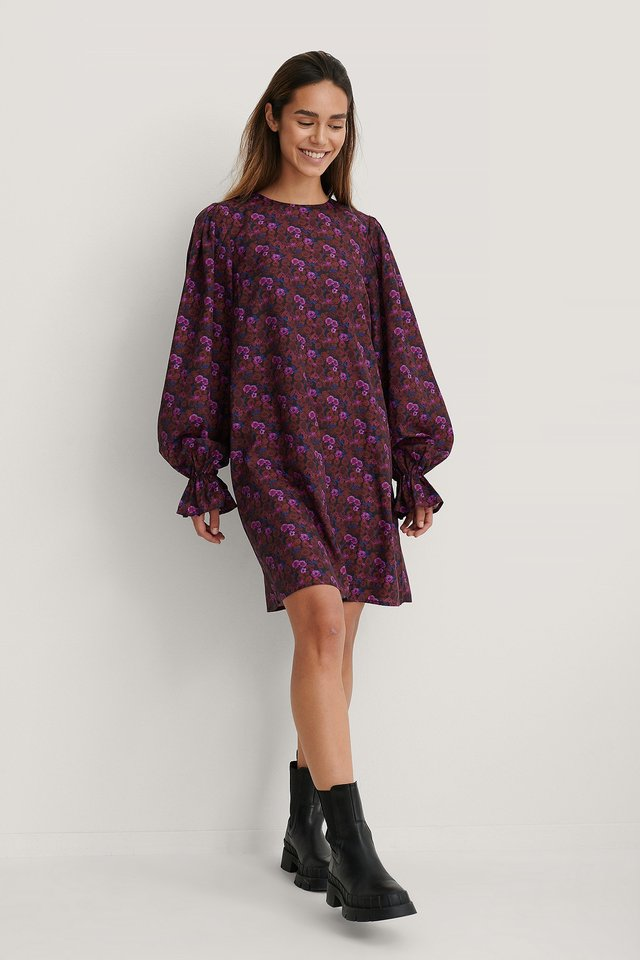 Volume Sleeve Dress Purple Flower