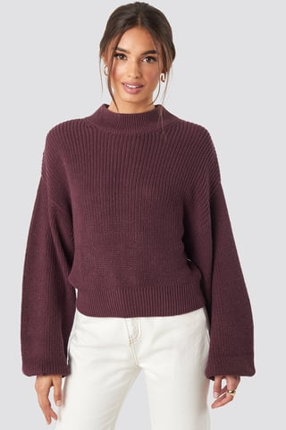 Burgundy Volume Sleeve High Neck Knitted Sweater