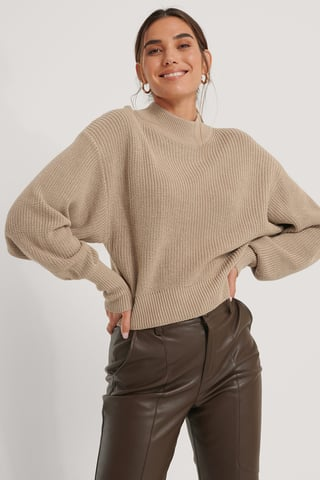 Beige Organic Volume Sleeve High Neck Knitted Sweater