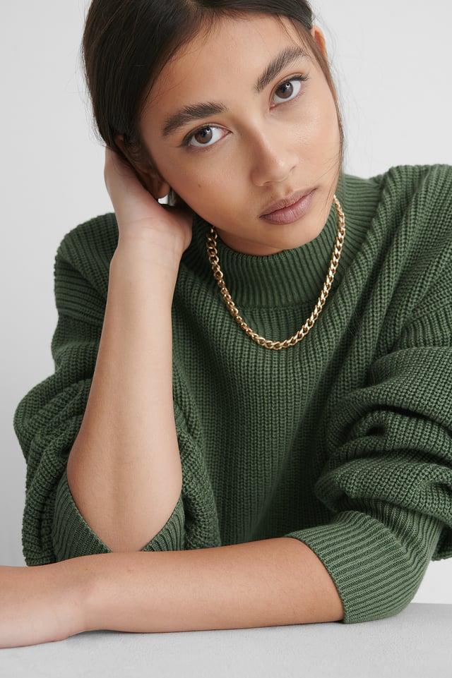 Khaki Volume Sleeve High Neck Knitted Sweater