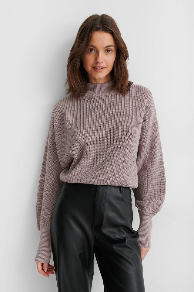 Volume Sleeve High Neck Knitted Sweater Dusty Light Purple